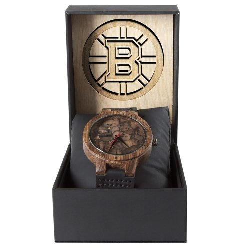 Boston Bruins Mahogany Marble Wooden Watch | Mens Minimalist Wood Watch