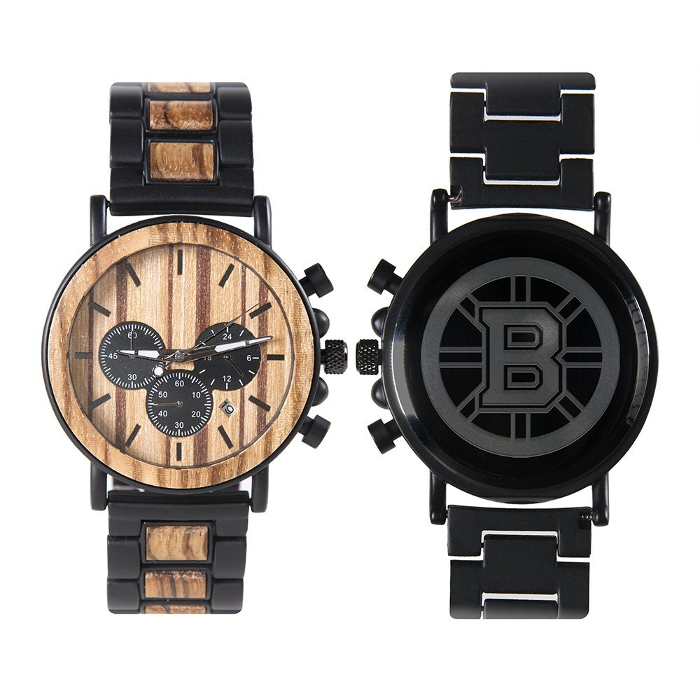 Boston Bruins Metal and Wood Watch | Mens Titanium Chronograph Watch