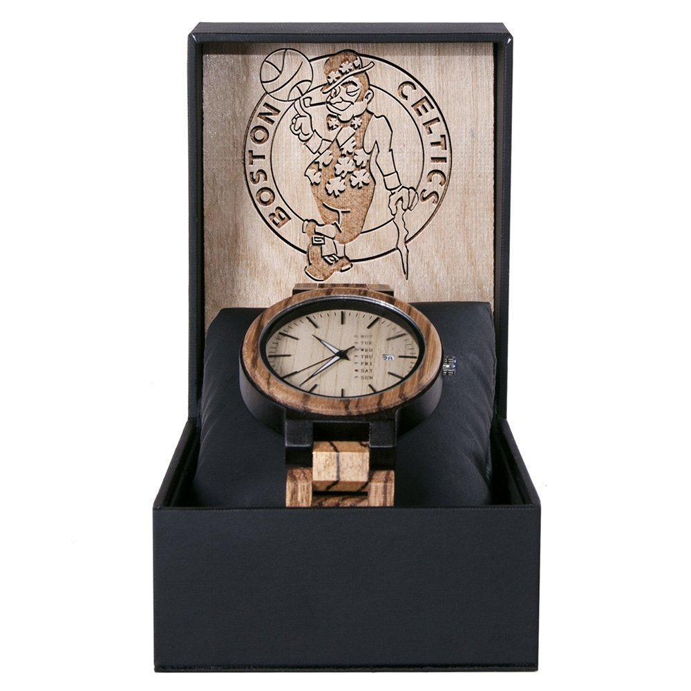Boston Celtics Maple Wooden Watch | Wood Watch Gold Sonnet Series