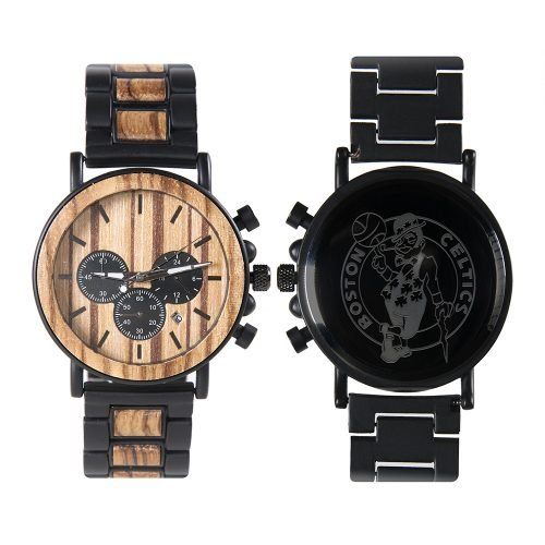 Boston Celtics Metal and Wood Watch | Mens Titanium Chronograph Watch