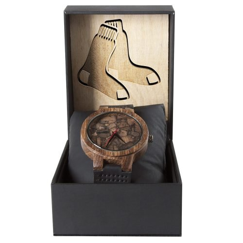Boston Red Sox Mahogany Marble Wooden Watch | Mens Minimalist Wood Watch