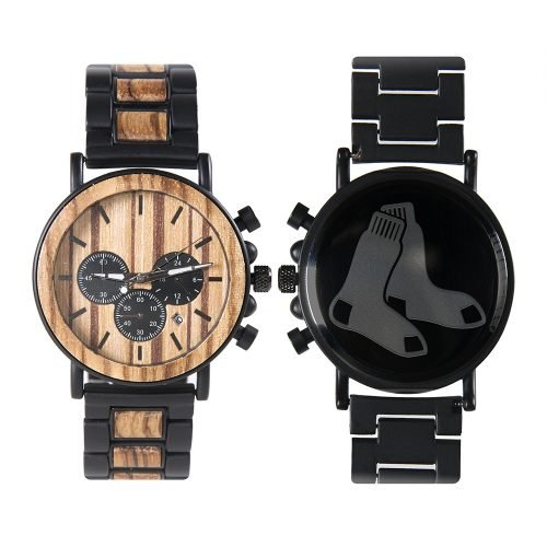Boston Red Sox Metal and Wood Watch | Mens Titanium Chronograph Watch