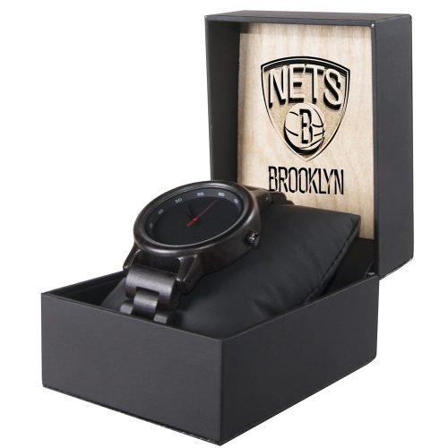 Brooklyn Nets Walnut Wooden Watch | Mens Black Watch