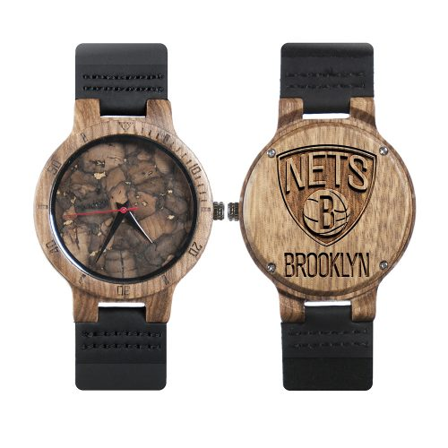 Brooklyn Nets Mahogany Marble Wooden Watch | Mens Minimalist Wood Watch