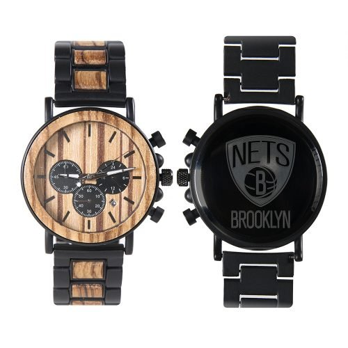 Brooklyn Nets Metal and Wood Watch | Mens Titanium Chronograph Watch