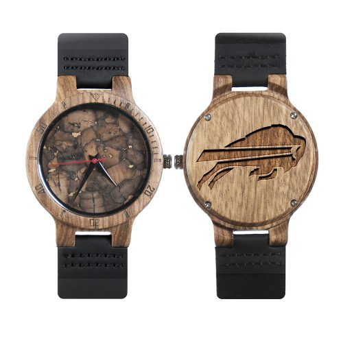 Buffalo Bills Mahogany Marble Wooden Watch | Mens Minimalist Wood Watch