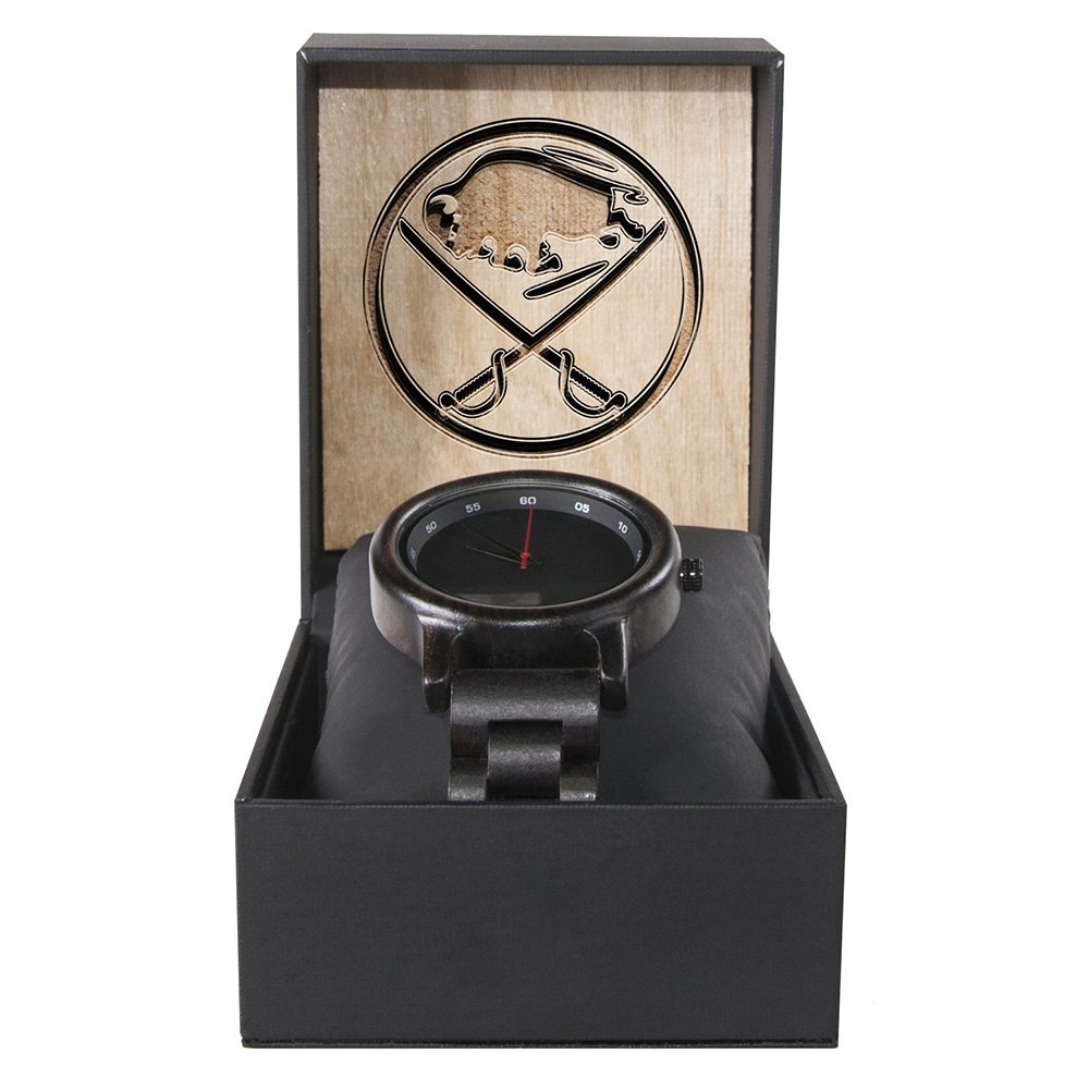 Buffalo Sabres Walnut Wooden Watch | Mens Black Watch