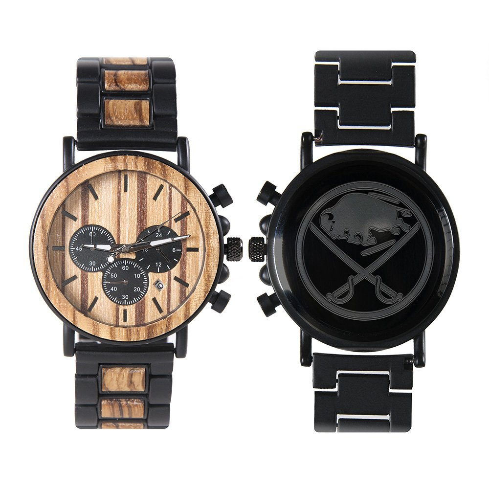 Buffalo Sabres Metal and Wood Watch | Mens Titanium Chronograph Watch