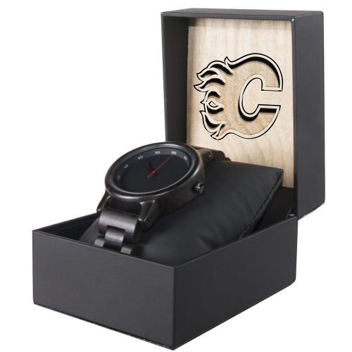 Calgary Flames Walnut Wooden Watch | Mens Black Watch