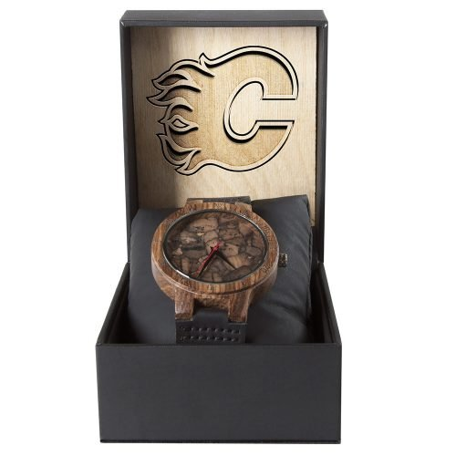 Calgary Flames Mahogany Marble Wooden Watch | Mens Minimalist Wood Watch