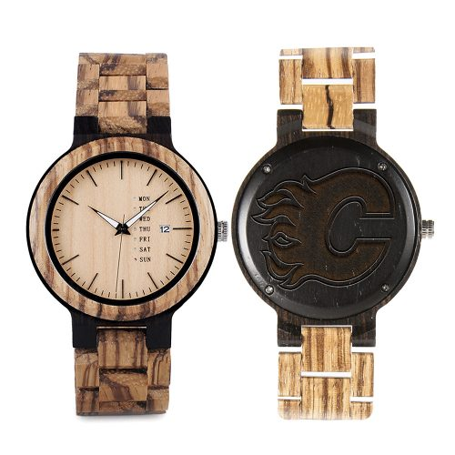 Calgary Flames Maple Wooden Watch | Wood Watch Gold Sonnet Series