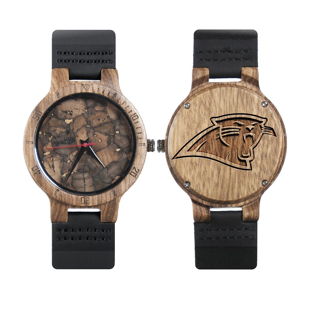 Carolina Panthers Mahogany Marble Wooden Watch | Mens Minimalist Wood Watch