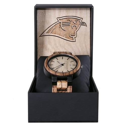 Carolina Panthers Maple Wooden Watch | Wood Watch Gold Sonnet Series