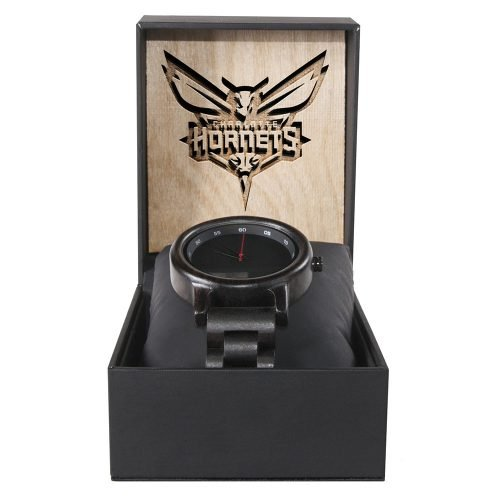 Charlotte Hornets Walnut Wooden Watch | Mens Black Watch