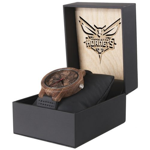 Charlotte Hornets Mahogany Marble Wooden Watch | Mens Minimalist Wood Watch
