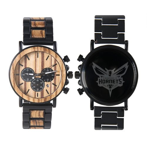 Charlotte Hornets Metal and Wood Watch | Mens Titanium Chronograph Watch