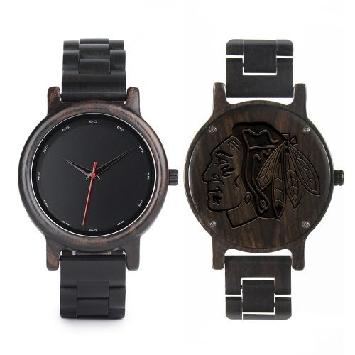 Chicago Blackhawks Walnut Wooden Watch | Mens Black Watch