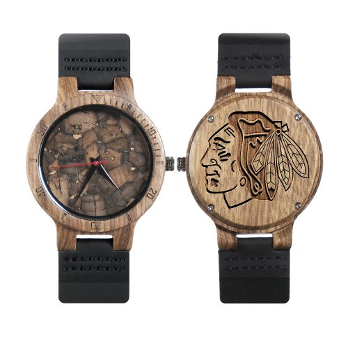 Chicago Blackhawks Mahogany Marble Wooden Watch | Mens Minimalist Wood Watch