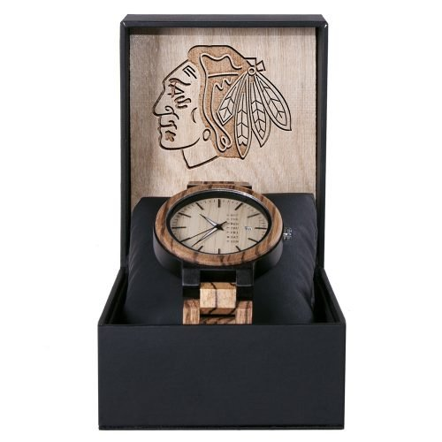 Chicago Blackhawks Maple Wooden Watch | Wood Watch Gold Sonnet Series
