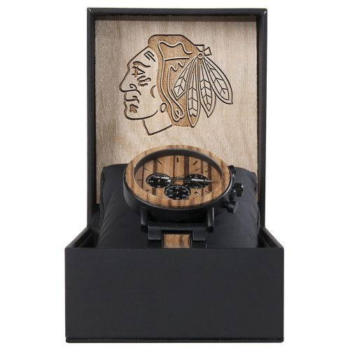 Chicago Blackhawks Metal and Wood Watch | Mens Titanium Chronograph Watch