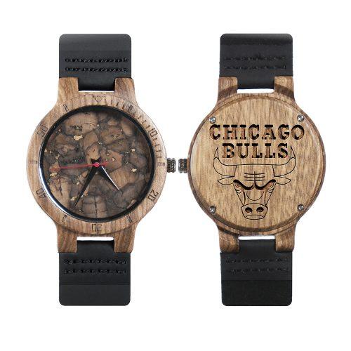 Chicago Bulls Mahogany Marble Wooden Watch | Mens Minimalist Wood Watch