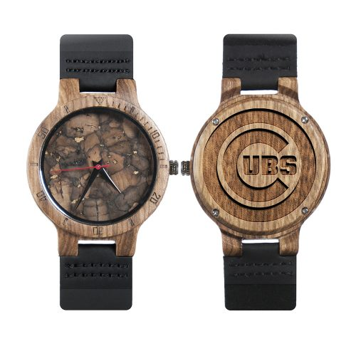 Chicago Cubs Mahogany Marble Wooden Watch | Mens Minimalist Wood Watch