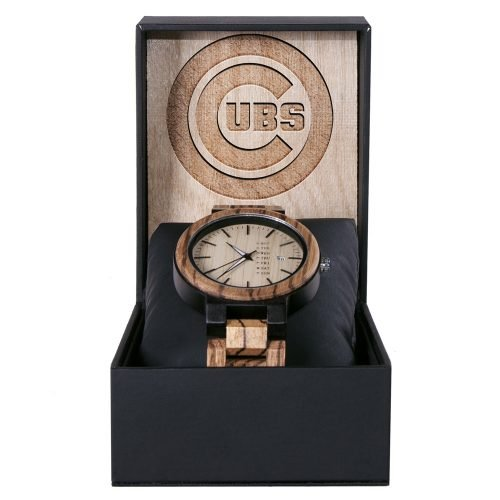 Chicago Cubs Maple Wooden Watch | Wood Watch Gold Sonnet Series