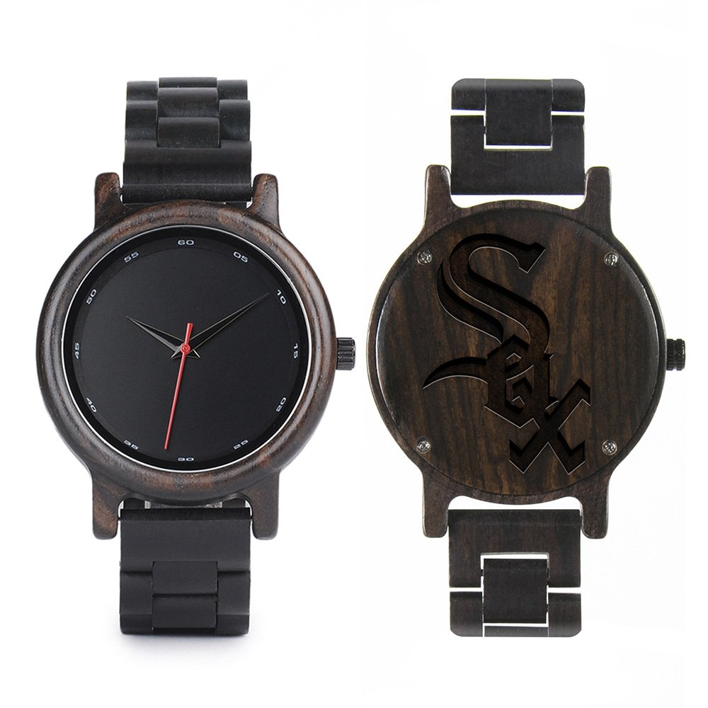 c7b9c27db732 MLB Chicago White Sox Walnut Wooden Watches - Mens Black Watch - All ...