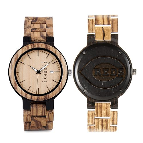Cincinnati Reds Maple Wooden Watch | Wood Watch Gold Sonnet Series