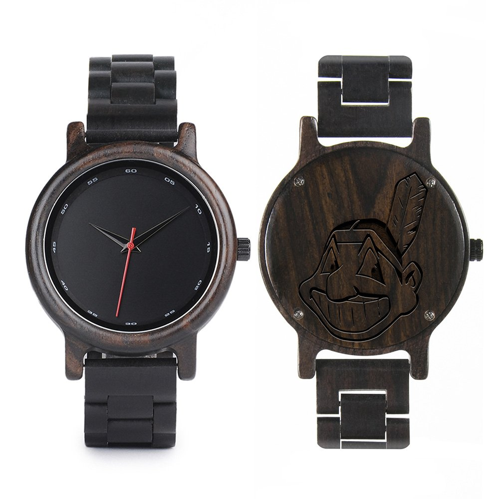 Cleveland Indians Walnut Wooden Watch | Mens Black Watch