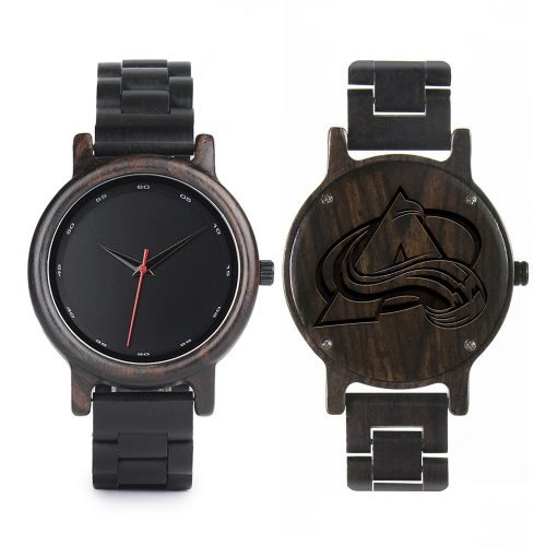 Colorado Avalanche Walnut Wooden Watch | Mens Black Watch