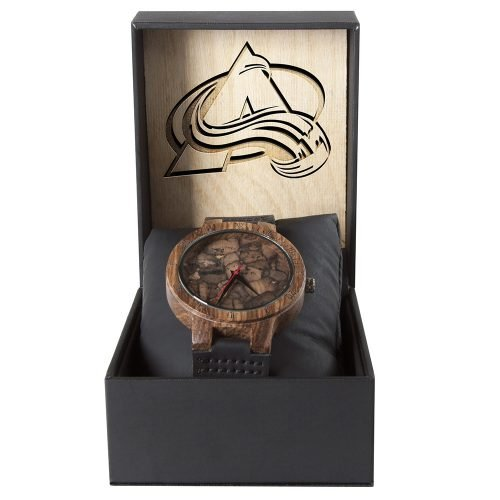 Colorado Avalanche Mahogany Marble Wooden Watch | Mens Minimalist Wood Watch