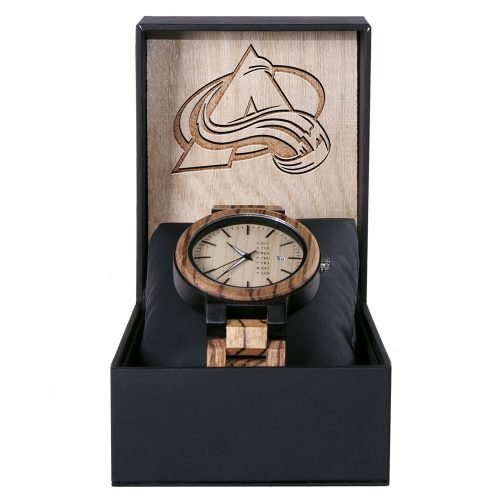 Colorado Avalanche Maple Wooden Watch | Wood Watch Gold Sonnet Series