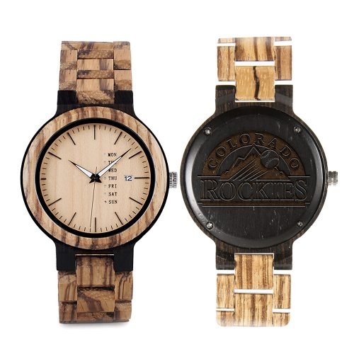 Colorado Rockies Maple Wooden Watch | Wood Watch Gold Sonnet Series