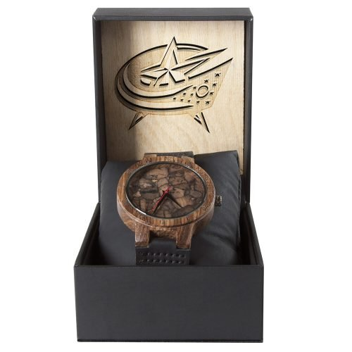 Columbus Blue Jackets Mahogany Marble Wooden Watch | Mens Minimalist Wood Watch