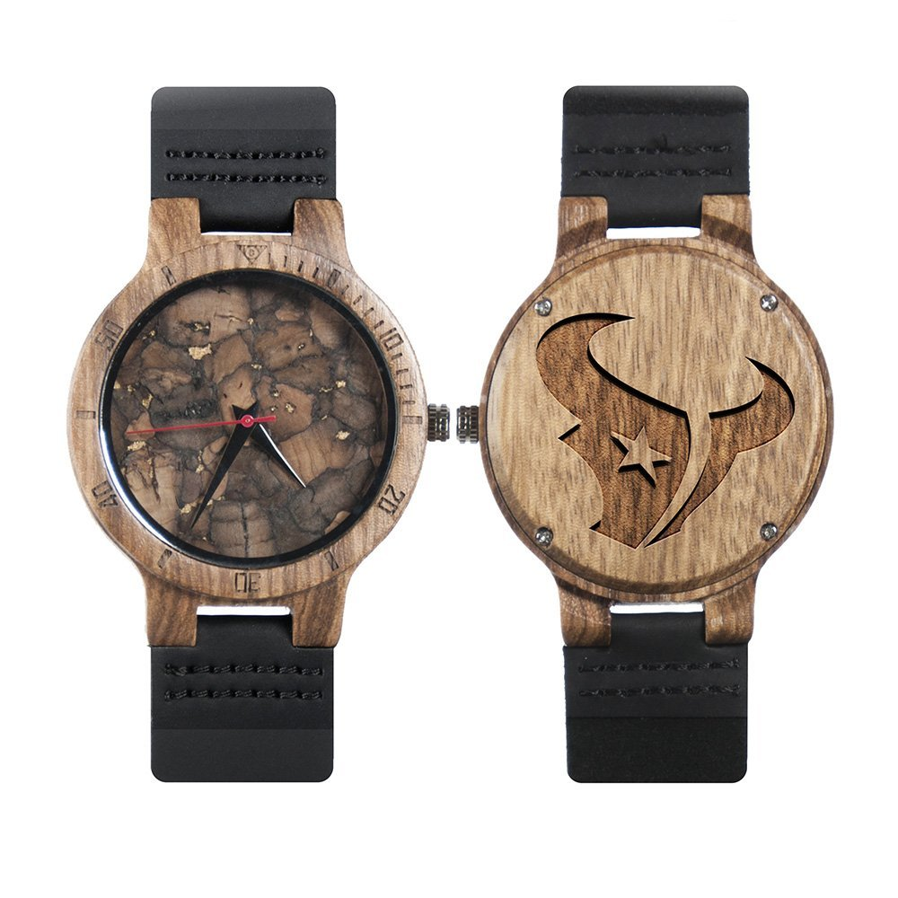 Nfl Houston Texans Metal And Wood Watches Mens Titanium