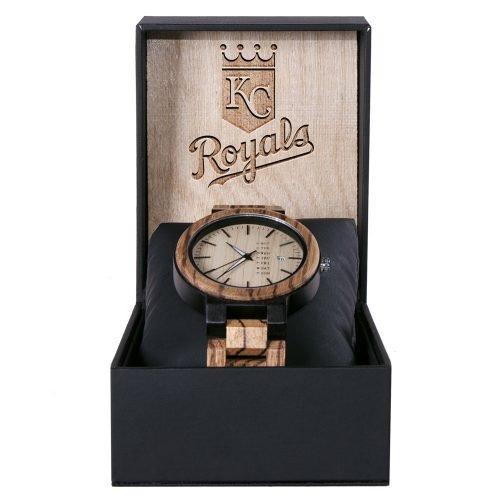 Kansas City Royals Maple Wooden Watch | Wood Watch Gold Sonnet Series