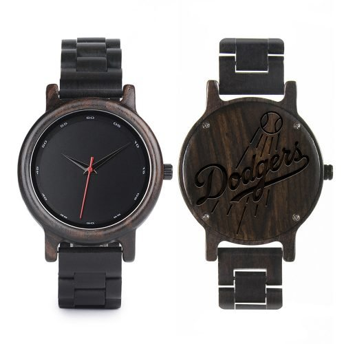 Los Angeles Dodgers Classic Walnut Wooden Watch | Mens Black Watch