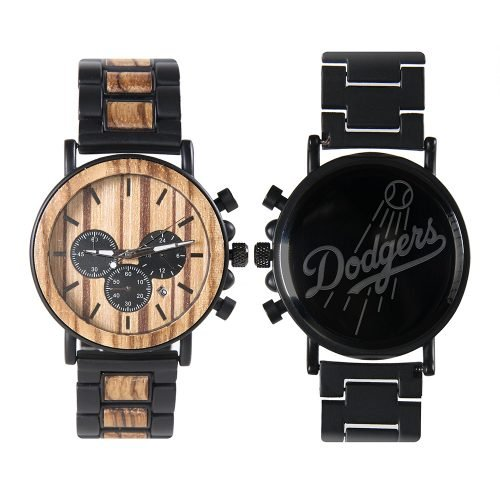 Los Angeles Dodgers Metal and Wood Watch | Mens Titanium Chronograph Watch