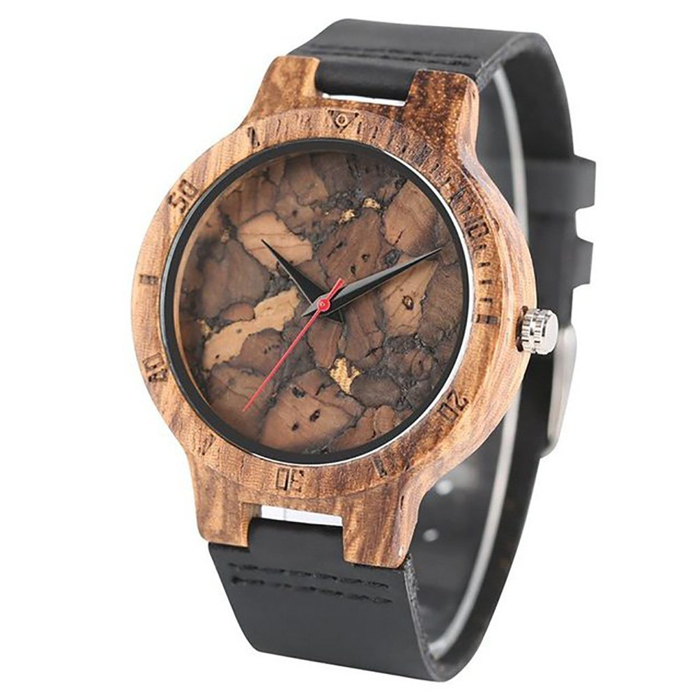 Anaheim Ducks Mahogany Marble Wooden Watch | Mens Minimalist Wood Watch