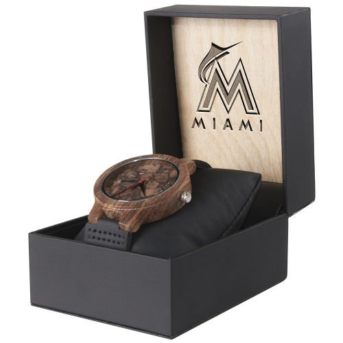 Miami Marlins Mahogany Marble Wooden Watch | Mens Minimalist Wood Watch