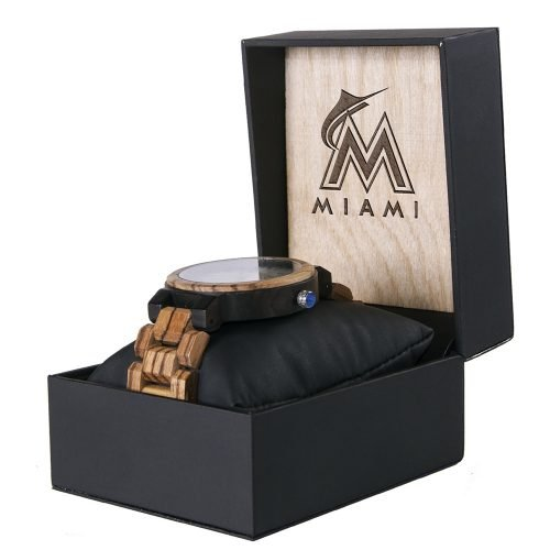 Miami Marlins Maple Wooden Watch | Wood Watch Gold Sonnet Series