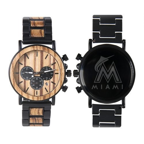 Miami Marlins Metal and Wood Watch | Mens Titanium Chronograph Watch