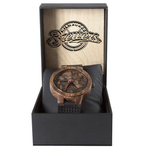 Milwaukee Brewers Mahogany Marble Wooden Watch | Mens Minimalist Wood Watch