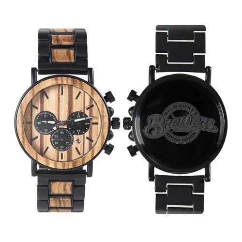 Milwaukee Brewers Metal and Wood Watch | Mens Titanium Chronograph Watch