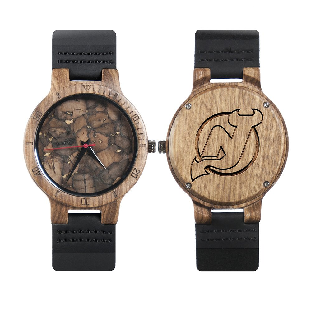 best service 5f28a 1f2f7 NHL New Jersey Devils Mahogany Marble Wooden Watches - Mens Minimalist Wood  Watches