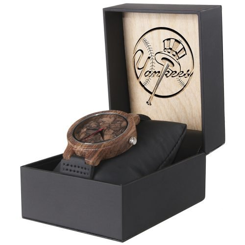 New York Yankees Mahogany Marble Wooden Watch | Mens Minimalist Wood Watch