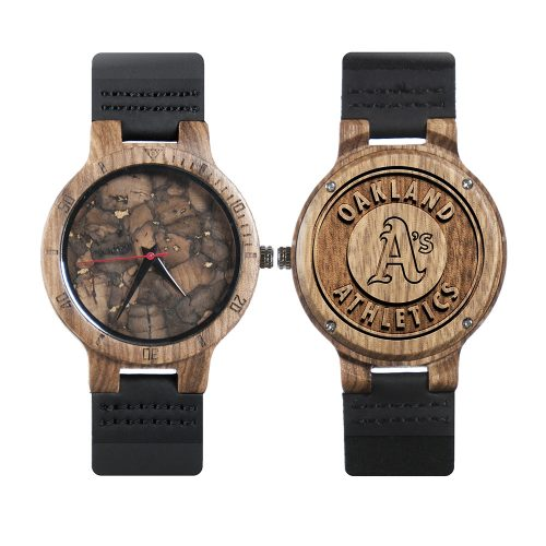 Oakland Athletics Mahogany Marble Wooden Watch | Mens Minimalist Wood Watch