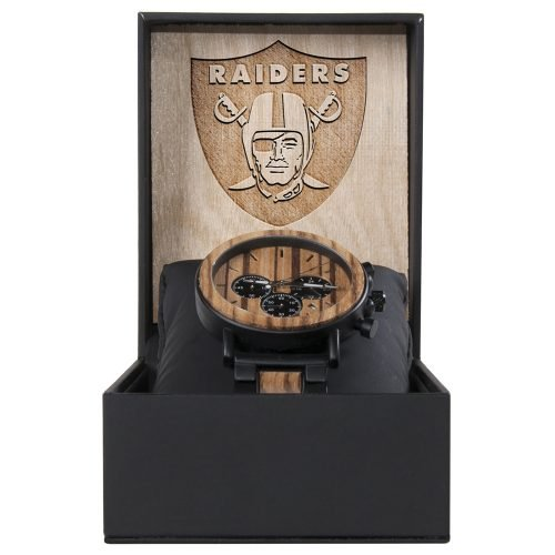 Oakland Raiders Metal and Wood Watch | Mens Titanium Chronograph Watch