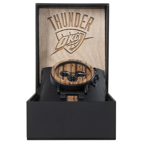 OKC Thunder Metal and Wood Watch | Mens Titanium Chronograph Watch